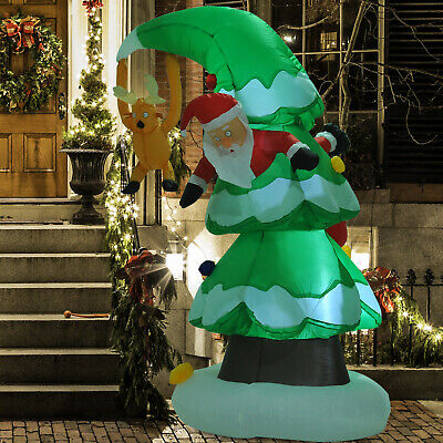 HOMCOM 7Ft Inflatable Christmas Tree Stuck Santa Lighted Airblown Lawn Outdoor