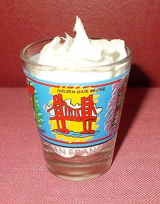 Vintage SAN FRANCISCO Souvenir SHOT GLASS Clear Multicolor Design Original ^