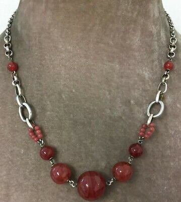 Vintage Art Deco Jewellery Gorgeous Shiny Carnelian Glass Bead Necklace