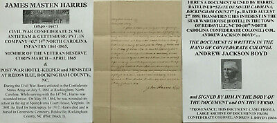 CIVIL WAR CONFEDERATE COLONEL 45th NC INFANTRY & WIA PVT 14th NC DOCUMENT SIGNED