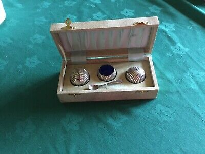 EPNS golf ball condiment set. In original case and has never been used