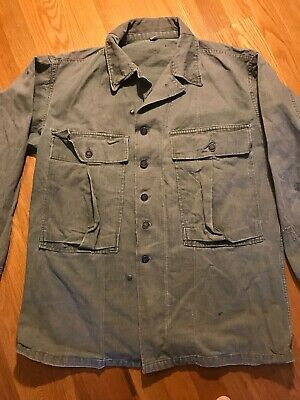 Vintage WWII WW2 USGI 13 Star Buttons HBT Herringbone Shirt / Jacket 38R  #193