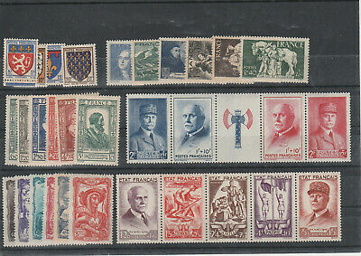 Timbres France Neufs  Annee Complete 1943 - Liquidation Double
