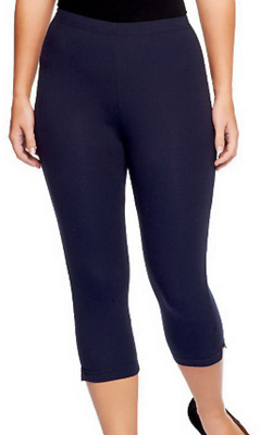 Women with Control Pull-on Stretch Pedal Pushers w/ Side Slit, Navy, Med A202284