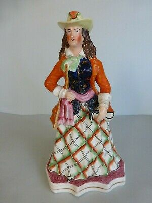19Thc. Colourful Staffordshire Figure Of A Lady/Actress? C.1855
