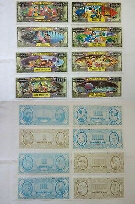 Lotto 8 Banconote Personaggi Disney Rare 1970