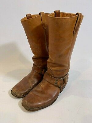 Vintage FRYE Men's Brown Leather Harness Square Toe Motorcycle Boots 9D