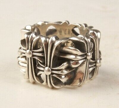 925 Silver Hand-Carved Cross Statue Ring Stylish Limited Edition Old Gift