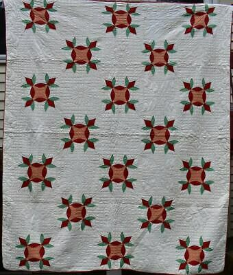 """""""Turkey Tracks"""" Antique Quilt, Red, Green and Cheddar, Well Quilted, #18654"""