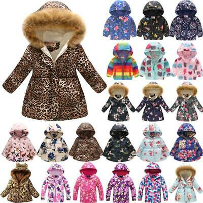 Kids Girls Thick Hooded Jacket Coat Winter Warm Padded Floral Outerwear Overcoat
