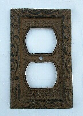 Rustic French Style Cast Iron Electrical Outlet Plug Wall Cover Plate