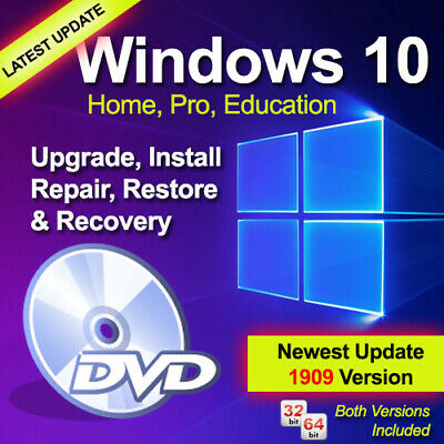 Windows 10 Home/Pro V.1909 Upgrade/Install/Repair/Restore/Recovery DVD 32/64-Bit