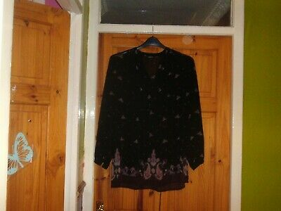 Absol Stunning-Papaya Black Floral  Mix Quality Long  Sleeve Fitted Top Size 12