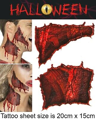 Halloween Zombie Scars Tattoos Fake Ripped Skin Scab Wound FX Face Make Up Kit