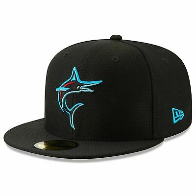 [11900034] Mens New Era MLB 2019 Batting Practice 59FIFTY Fitted Miami Marlins