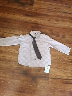 Mothercare 6-9 Months baby boys Shirt And tie Bnwt Grey