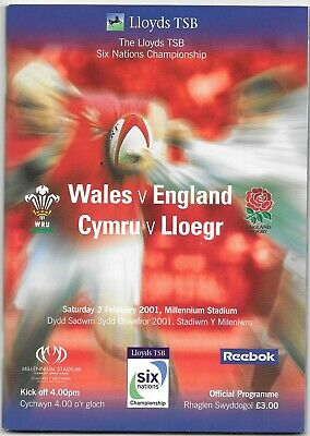 Wales  V England 6 Nations Rugby Union Programme 2001..