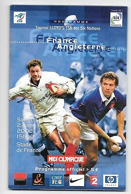 France v England Rugby Union Six Nations Programme 2002