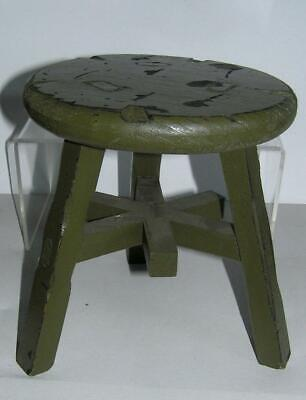 "Folk ART Primitive small Green painted desk top Stool 9"" x 9"""