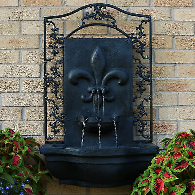 Sunnydaze French Lily Solar-Only Outdoor Wall Water Fountain - Lead Finish