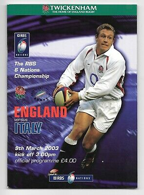 England V Italy Six Nations Rugby Union Programme 2003.