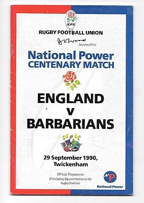 England V Barbarians Rugby Centenary Match Programme 1990.