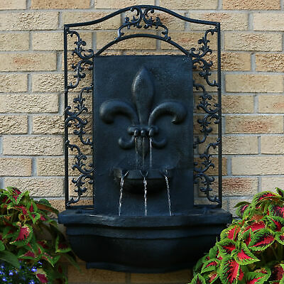 Sunnydaze French Lily Solar Outdoor Wall Fountain with Battery Pack - Lead
