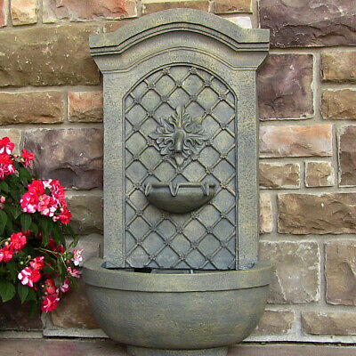 Sunnydaze Rosette Outdoor Solar Wall Fountain with Battery - French Limestone