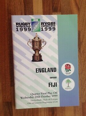 England V Fiji Rugby World Cup 1999 Quarter Final Play-off  Match Programme