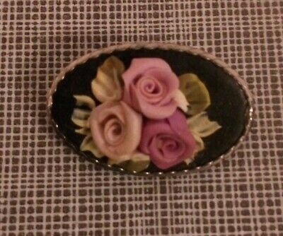 Porcelain Vintage Flower Bouquet Floral China Posy Flowers Brooch - Rose Pansy