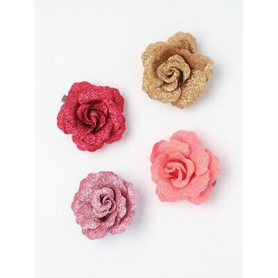 New Glitter Rose Flower Hair Beak Clip Gold Purple Pink 5cm (7593)