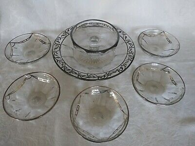 **Heisey** Sterling Silver** Overlay** Chip Dip** & Berry Bowls**