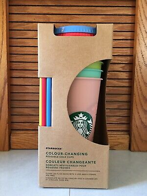 Starbucks Color Changing Reusable Cold Cup Tumbler Set: 5 Cups/ 5 Lids/ 5 Straws
