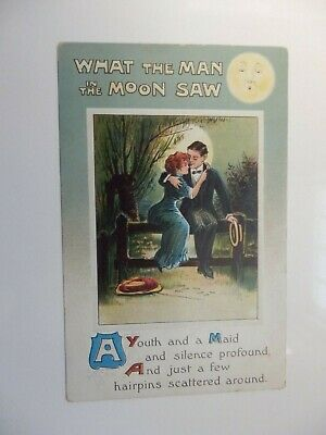 Art Deco Postcard Man In The Moon And Lovers By Moonlight Embossed