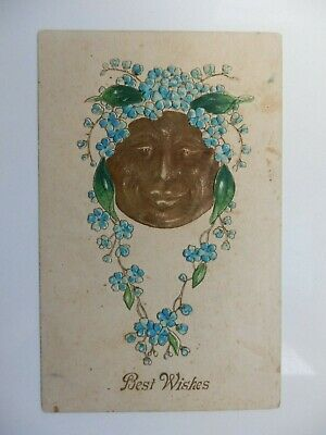 Art Nouveau Embossed Postcard Man In The Moon Best Wishes Unused Dated 1909