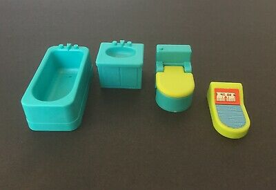 Fisher Price Little People Vintage BATHROOM Lot Toilet Sink Bathtub Scale