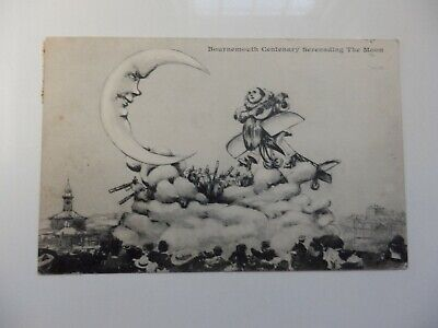Antique Postcard Man In The Moon Bournemouth Centenary Postmarked 1910