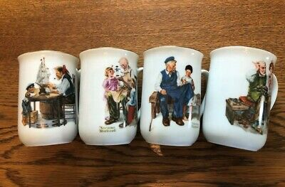 Norman Rockwell Museum Porcelain Tea Cups Mugs 1982  Lot of 4