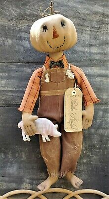 "Primitive Pumpkin Doll with Pig 18""Tall Fall Thanksgiving Cloth Folk Art OOAK"