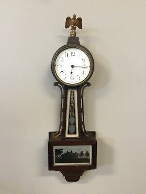 Antique small Banjo Clock by The New Haven Clock Co. American Eagle Finial