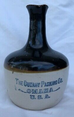 Vintage Cudahy Packing Co. Omaha, Nebraska Stoneware Crock Handled Jug Cruet