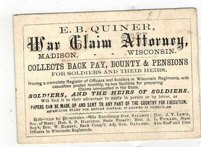 Early 1900's Business Card E.B. Quiner WAR CLAIM ATTORNEY Madison Wisconsin