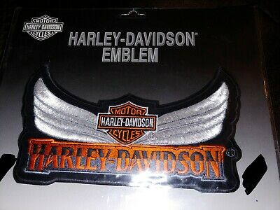 "Harley Davidson Large Sew On Patch 9x5"" Jacket Vest Logo Wings Classic BNWT"