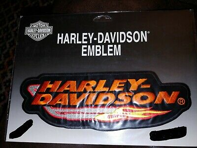 "Harley Davidson Large Sew On Patch 10x3.5"" Jacket Vest Logo Flames Classic BNWT"