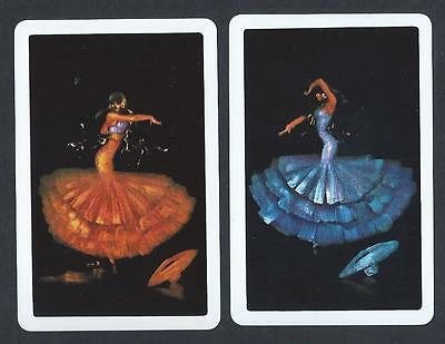 #100.574 vintage swap card -NEAR MINT pair- Spanish Flamenco Dancers, red & blue