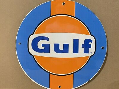 12in GULF RACING GASOLINE PORCELAIN SIGN OIL GAS PUMP PLATE PORSCHE FORD GT