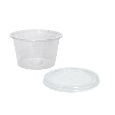 1000x Clear Plastic Sauce Container w Lid Round 120mL Disposable Condiments