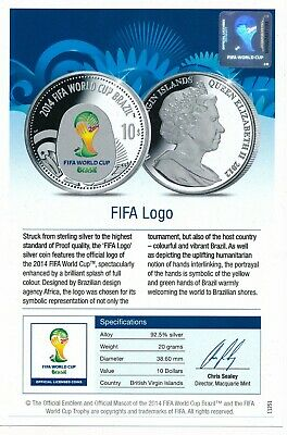 British Virgin $10 2012 Brazil FIFA Football World Cup Silver Proof GEM FDC +COA