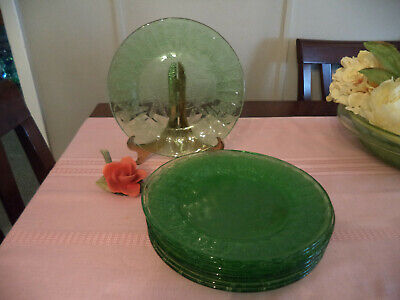 Set of 8 Green depression glass salad plates in Floral/Poinsetta pattern