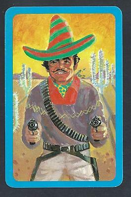#930.569 vintage swap card -NEAR MINT- Mexican bandit, blue border